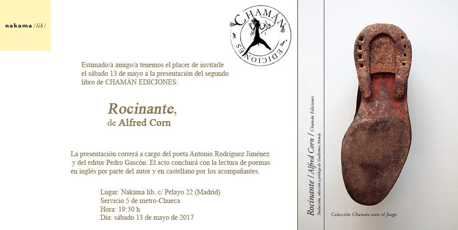 Invitación recital Alfred Corn en nakama lib de Madrid