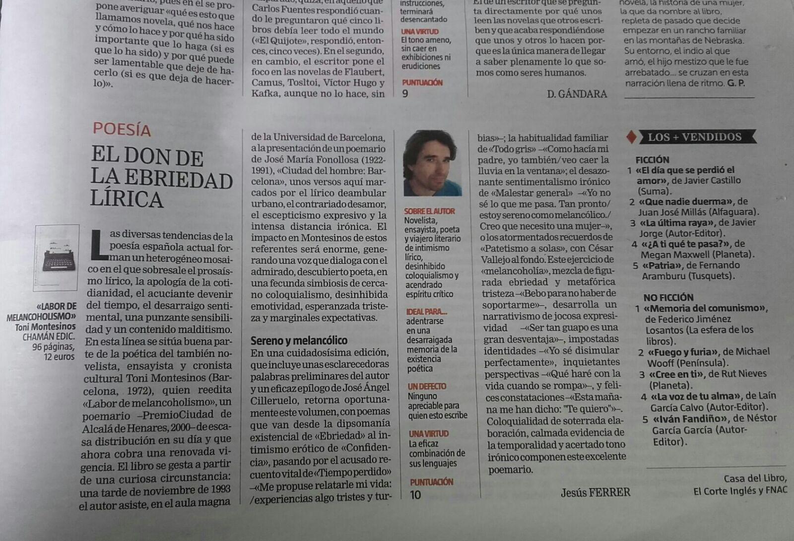 """Reseña de """"Labor de melancoholismo"""", de Toni Montesinos (Chamán Ediciones, Col. """"Chamán ante el fuego"""" (poesía); Albacete, 2018)"""