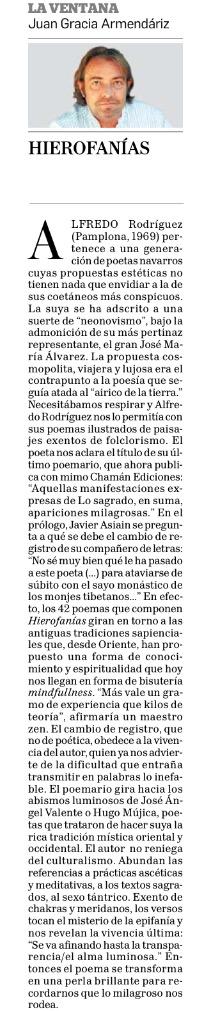 Reseña de Hierofanías por Juan Gracia Armendáriz