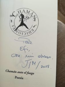 Dedicatoria de Javier Sánchez Menéndez para Efi Cubero