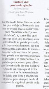 """Artículo de Librújula sobre """"También vivir precisa de epitafio"""" de Javier Sánchez Menéndez (Chamán Ediciones, Albacete, 2018)"""