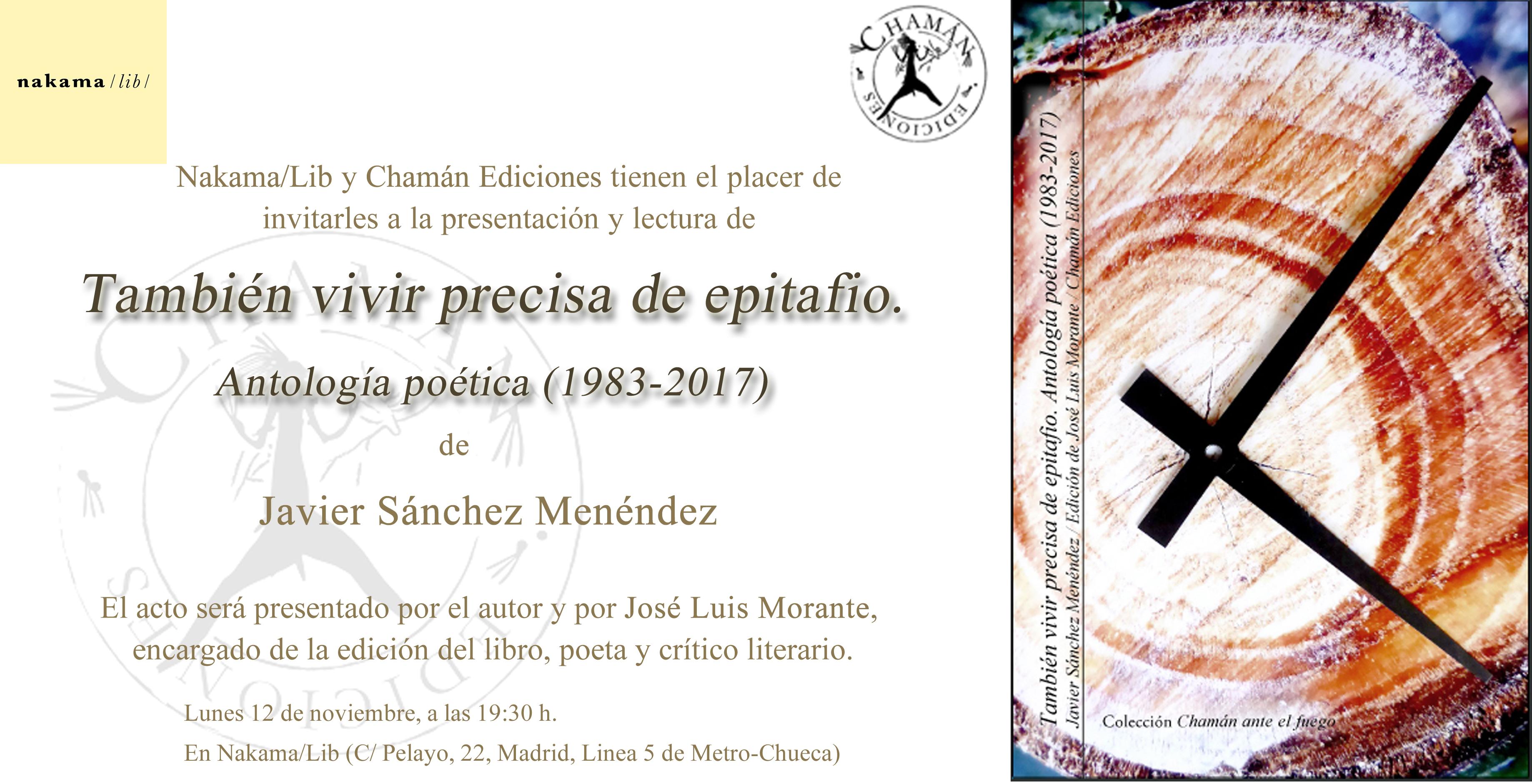 """Invitación de """"También vivir precisa de epitafio"""" en Nakama/lib, Madrid"""