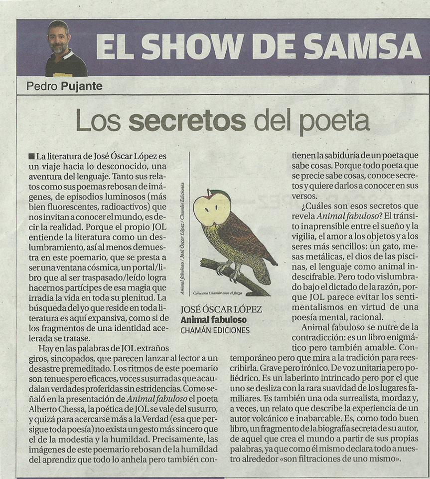 Reseña de Animal fabuloso por Pedro Pujante en La opinión de Murcia