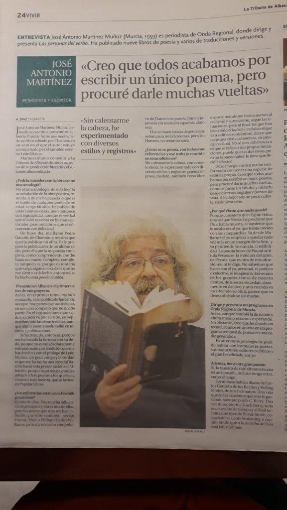 Artículo de La Tribuna sobre José Antonio Martínez Muñoz